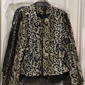 Express leopard fur jacket